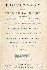 The title page of Johnson's Dictionary