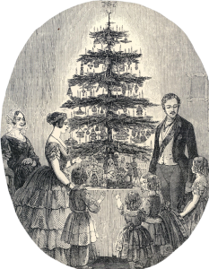 Queen Victoria and Prince Albert by their Christmas tree