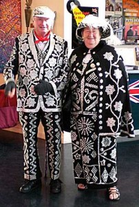 Traditional East End Pearly King and Queen (Public Domain)